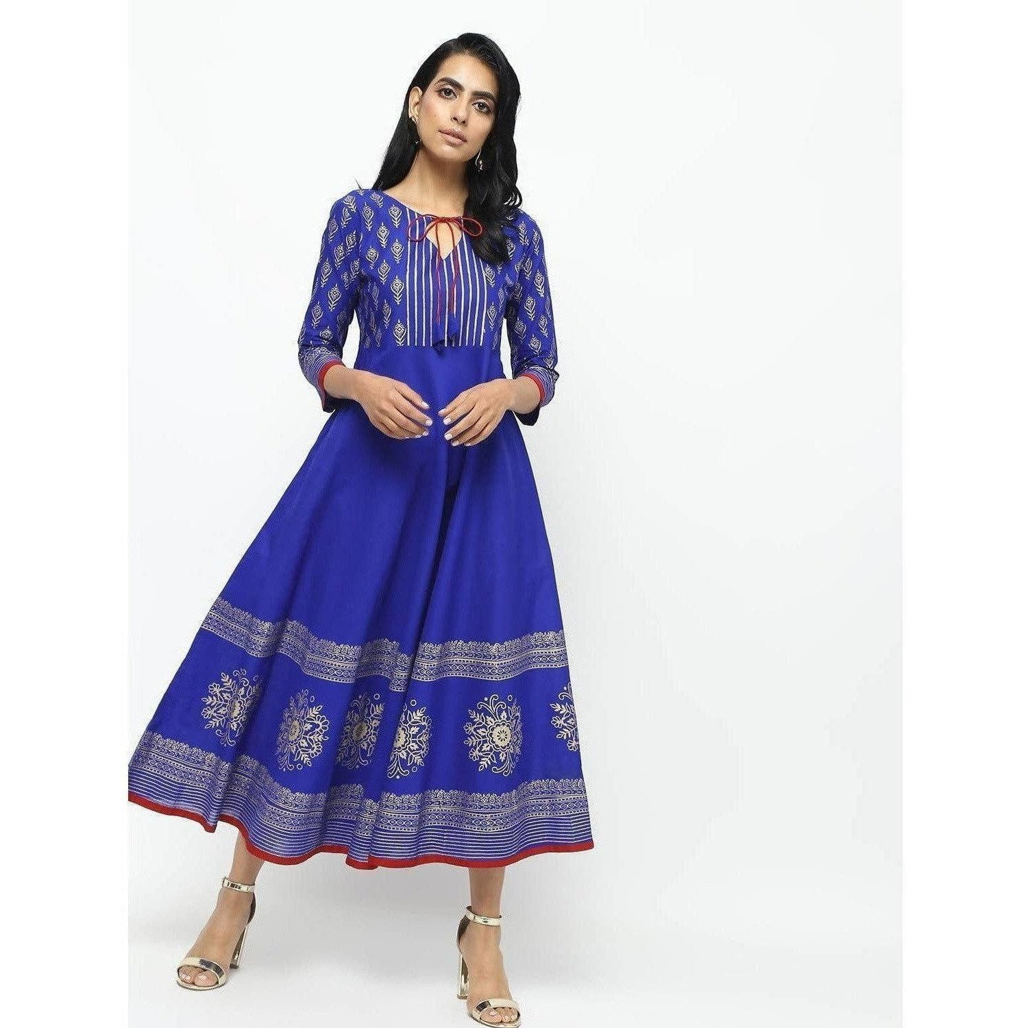 Cheera Royal Blue Flared Block Printed Long Kurta