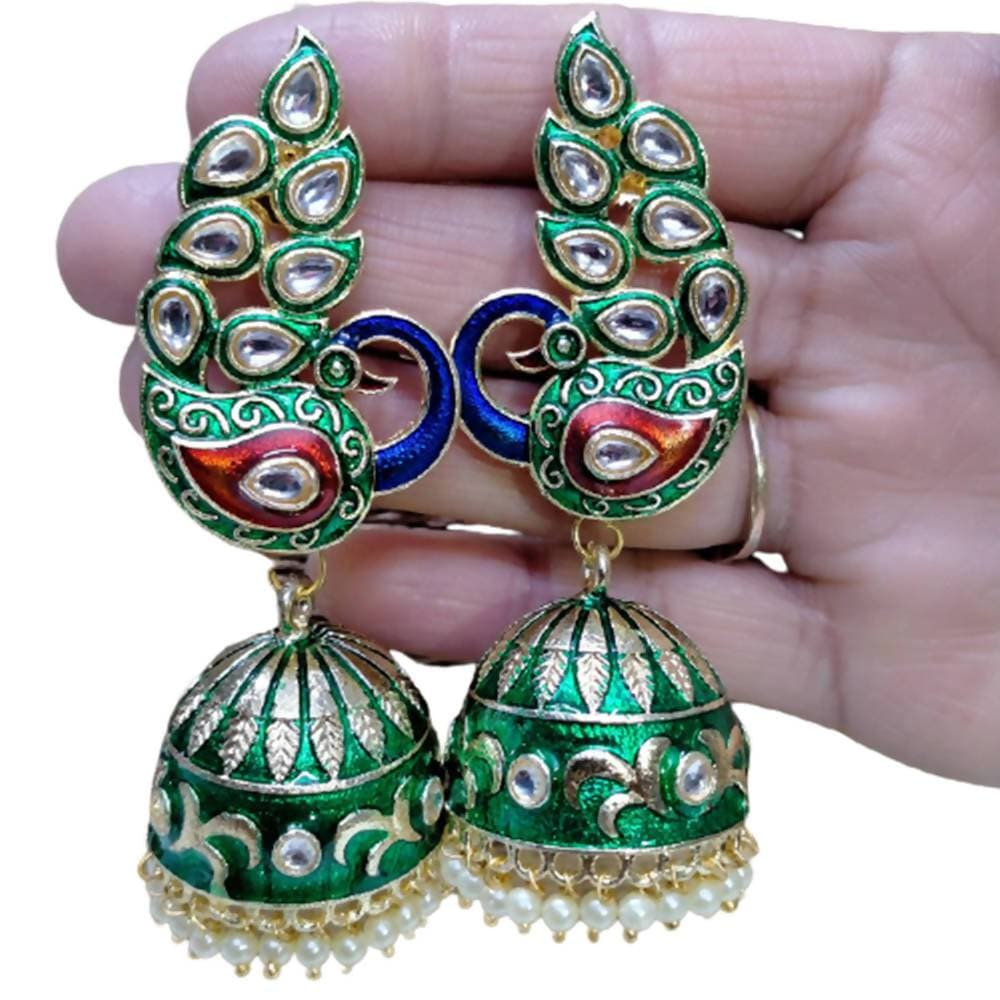 Megha Creations Peacock Jhumka Green Colour Earrings - Distacart