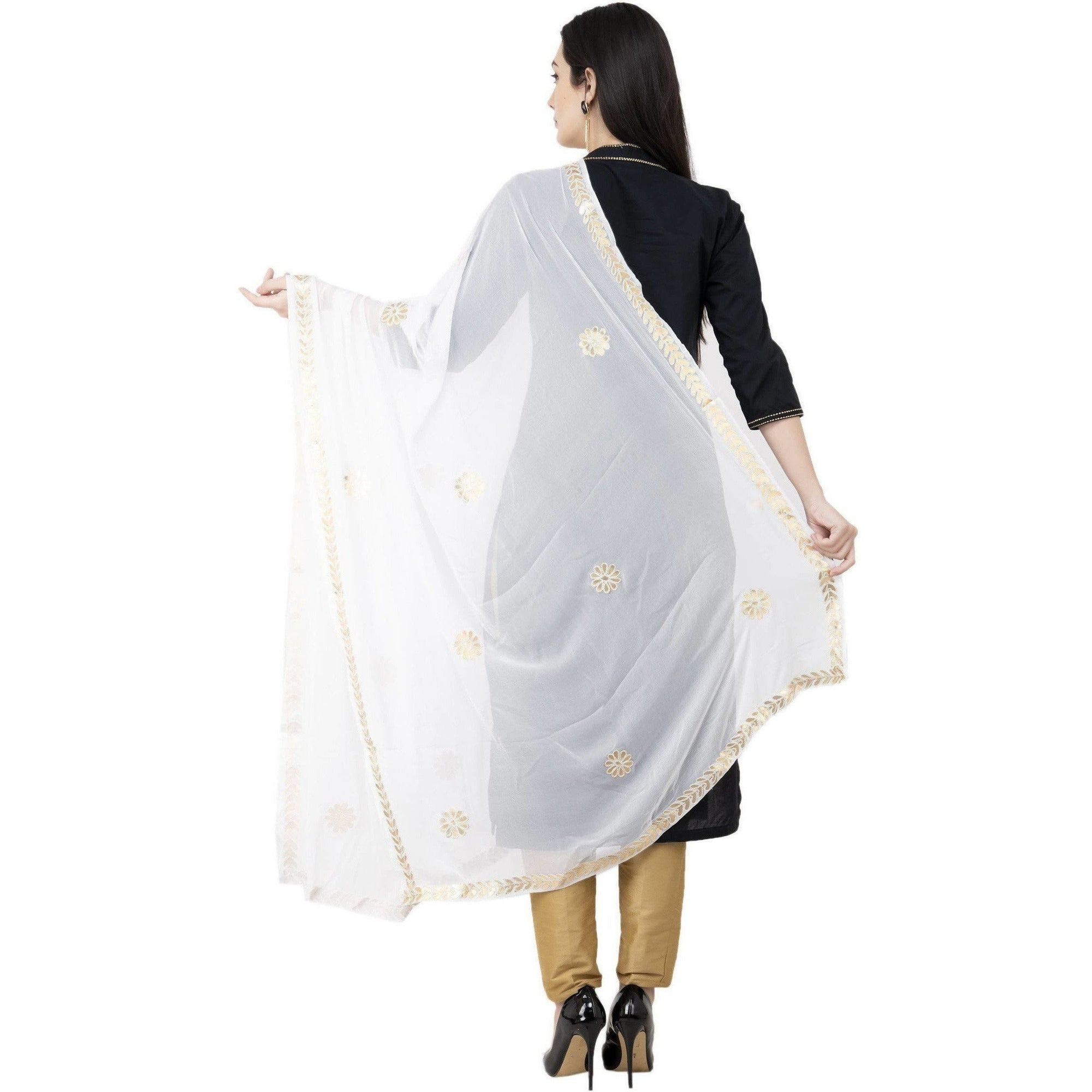 A R SILK Chiffon Gota Patti Fancy Dupatta White Color Dupatta or Chunni