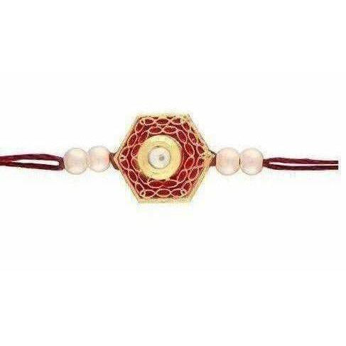 Gold Plated Pearl and Stone Rakhi - Distacart