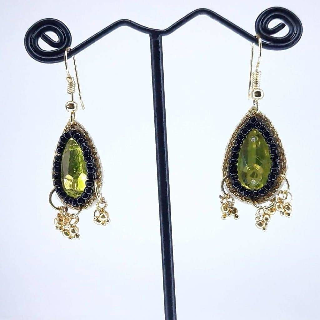 Hand weaved Crystal stone Leaf Earrings Collection