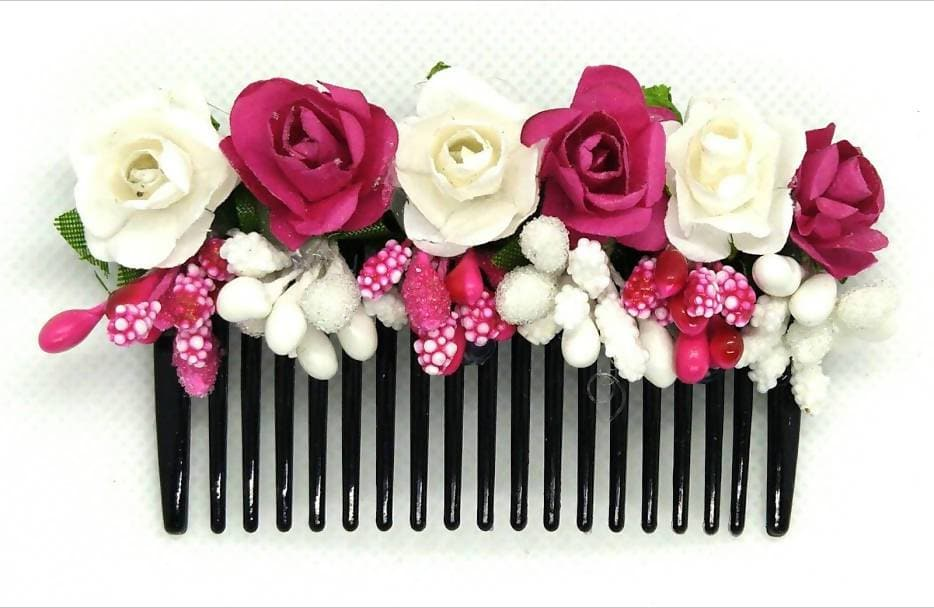 Pink & White Flower Hair Comb