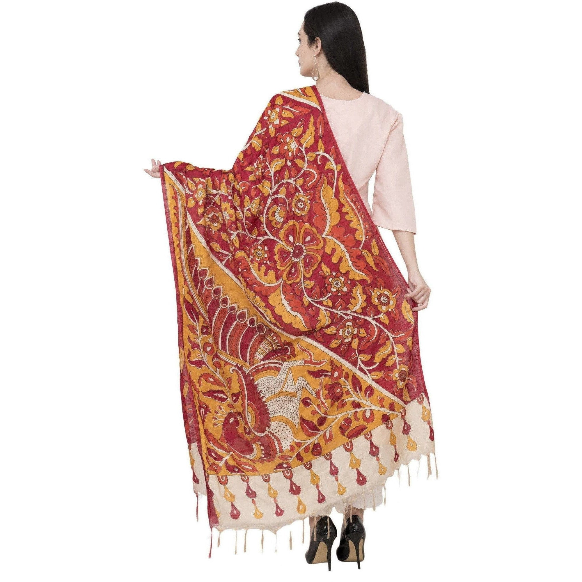 A R Silk Modal Kalamkari Print Fancy Dupatta Color Multi Print Dupatta or Chunni