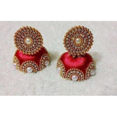 Red Color Jhumki with Beads Earrings