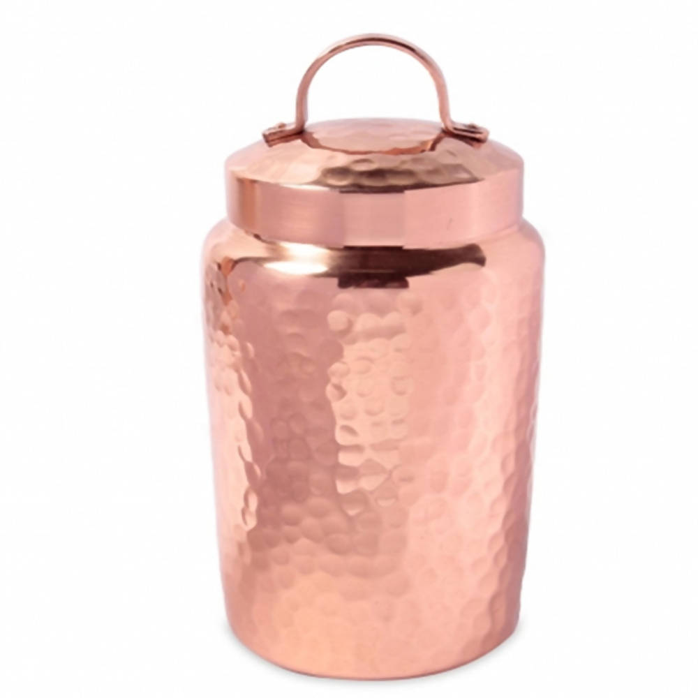 Isha Life Hammered Copper Container with Lid - Distacart