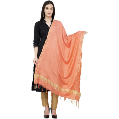 A R Silk Golden Border Regular Dupatta Color Peach Dupatta or Chunni