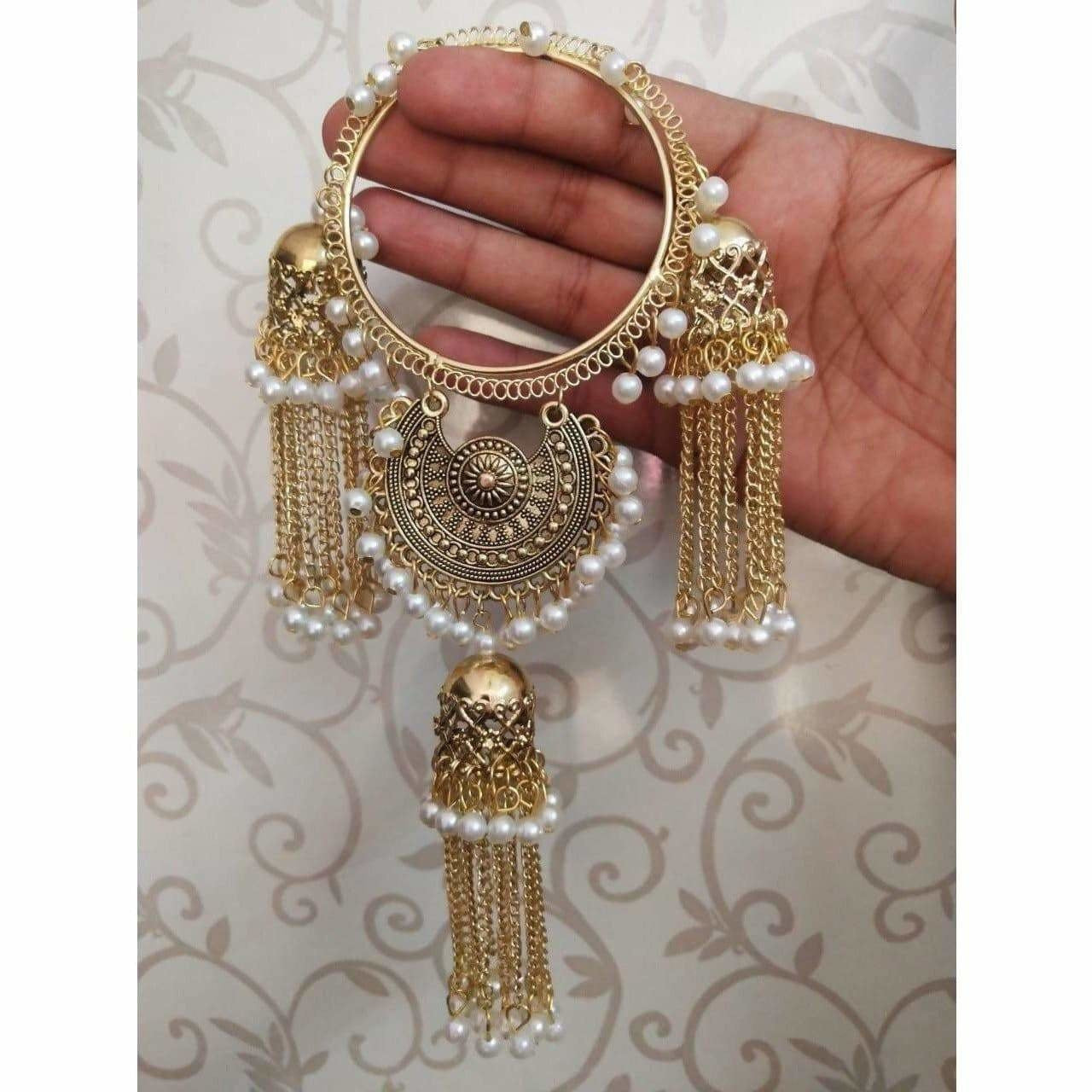 Bridal Latkan Gold Color Bangles With White Pearls