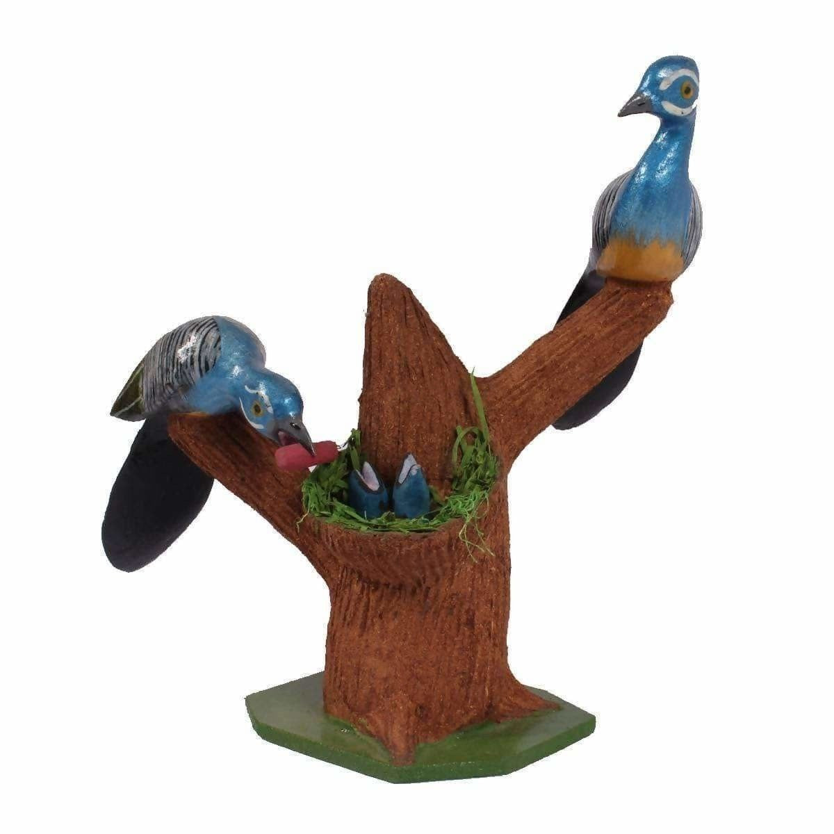 Two Wooden Birds Along with Nest and Baby Birds