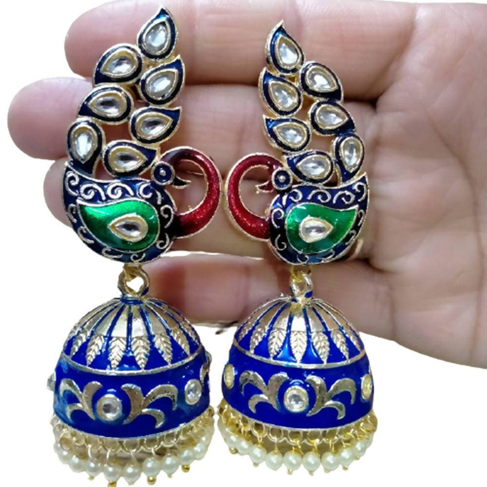Megha Creations Peacock Jhumka Blue Colour Earrings - Distacart