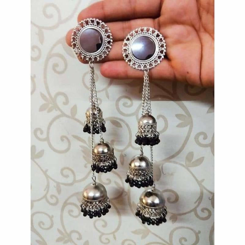 Traditional Kashmiri Black Color Pearls And Stone Occasional Earrings