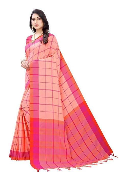 Vamika Peach Cotton Silk Weaving Saree (Goggle Peach) - Distacart