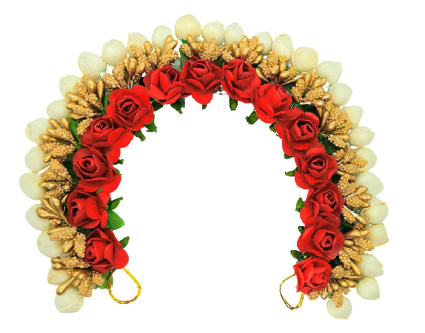 Red & Gold Flower Hair Gajra