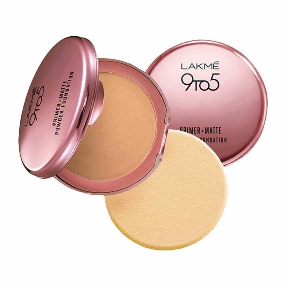 Lakme 9 To 5 Primer With Matte Powder Foundation Compact - Rose Silk - Distacart