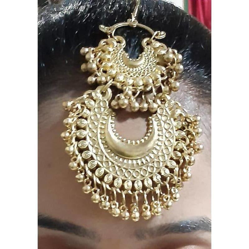 Gold Plated Brass Chandbali Maang Tikka
