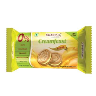 Patanjali Cream Feast Lemon Biscuit (Pack of 10) - Distacart