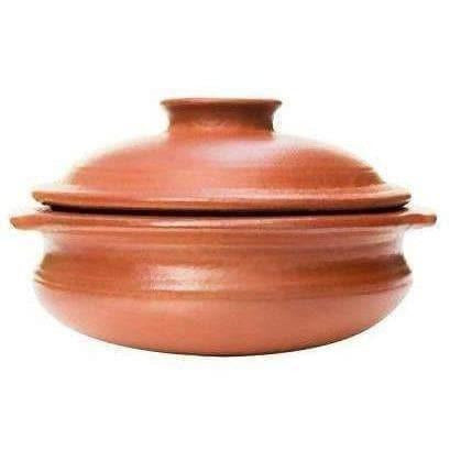 Earthen Clay Cookware Pot with Lid for Cooking and Serving (2.5 L, Red)