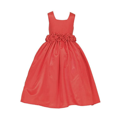 Asmaani Baby Girl's Red Color Satin A-Line Maxi Full Length Dress (AS-DRESS_22011) - Distacart