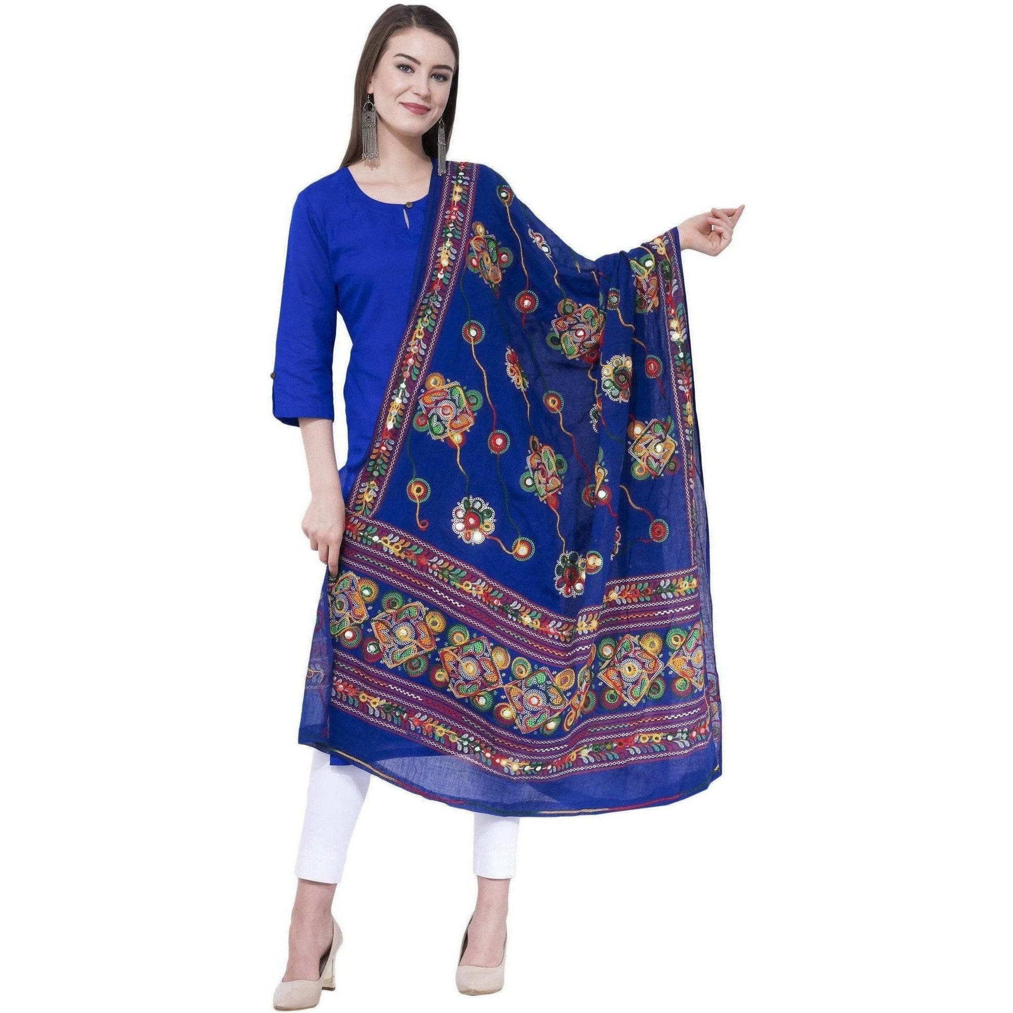 A R SILK Royal blue Color Gurjari Pure cotton Dupattas and Chunnis
