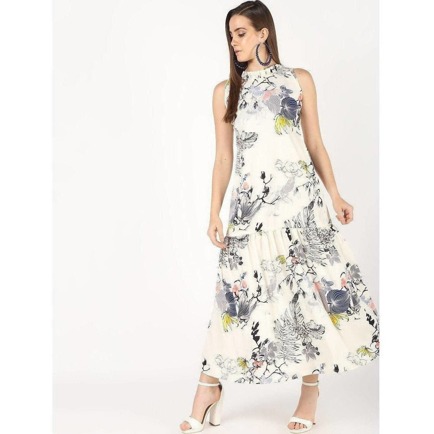 Cheera Flowral Printed Long A-Line Party Dress