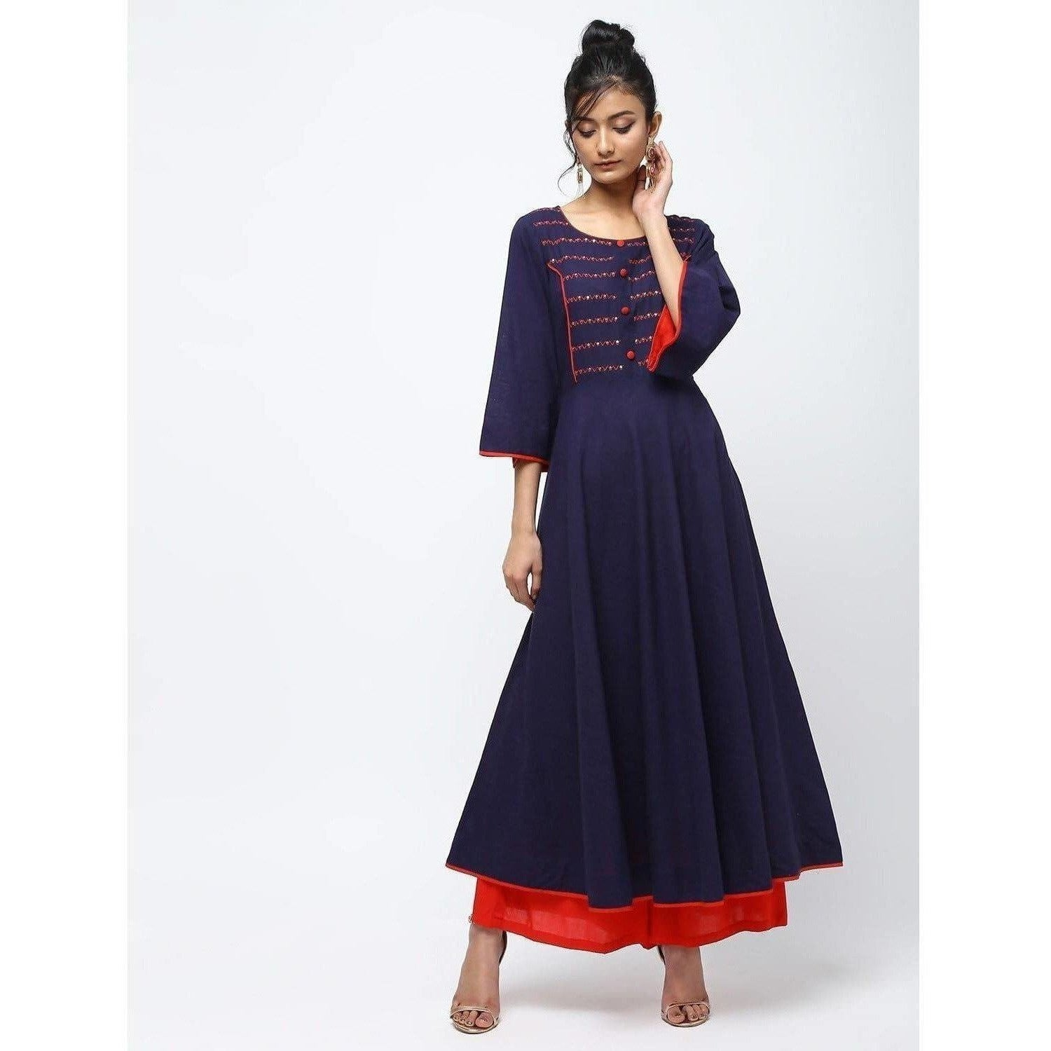 Cheera Flair Anarkali Dress With Hand Work Youk Design