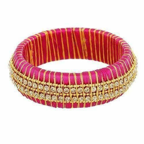 Double Line with White Stone Pink Color Bangle - Single Bangle