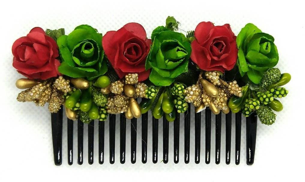 Red & Green Flower Hair Comb