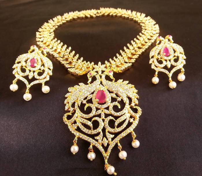 Latest Ad Ruby Peacock Bridal Necklace With Earrings