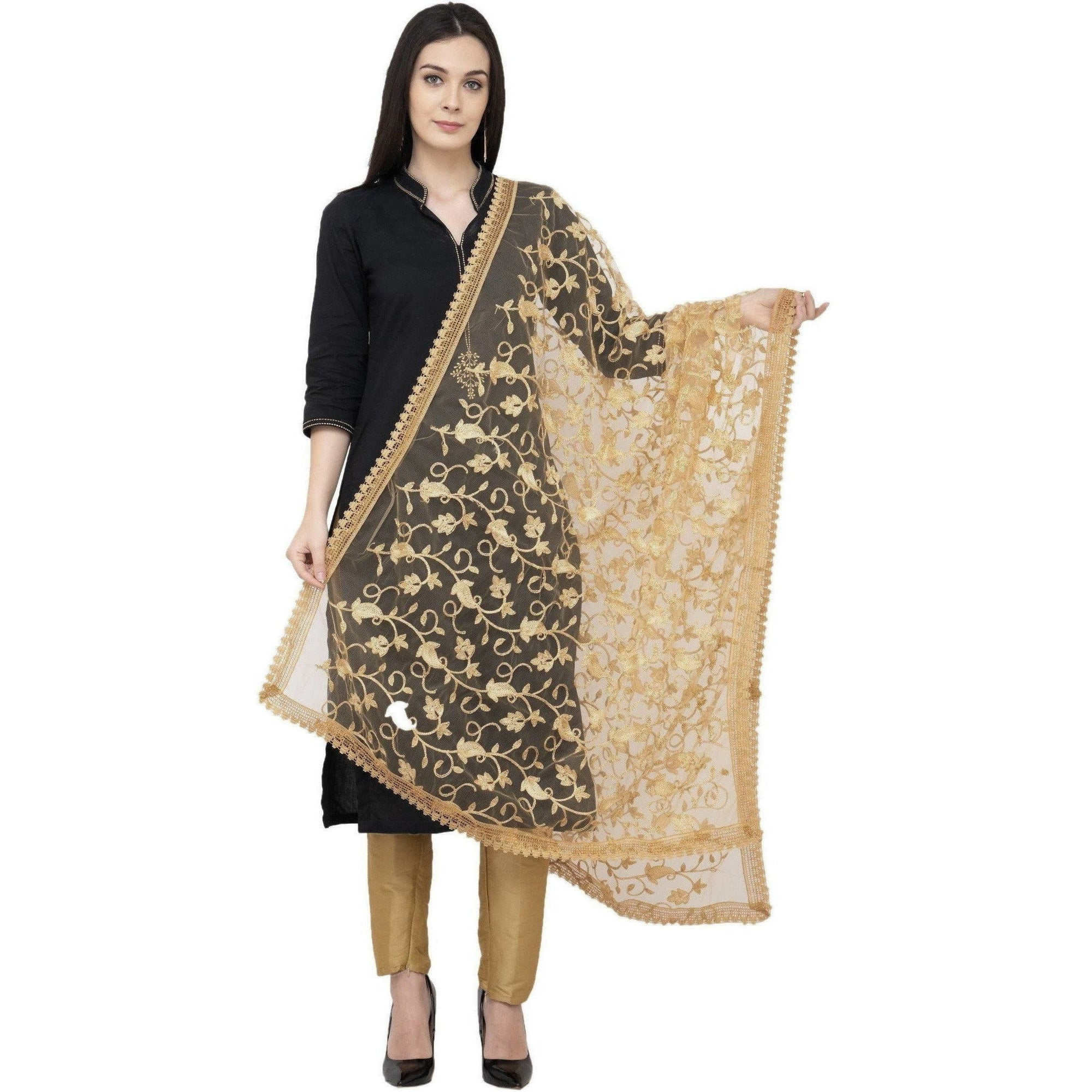 A R Silk Net Emb. Fancy Dupatta Color Golden Dupatta or Chunni
