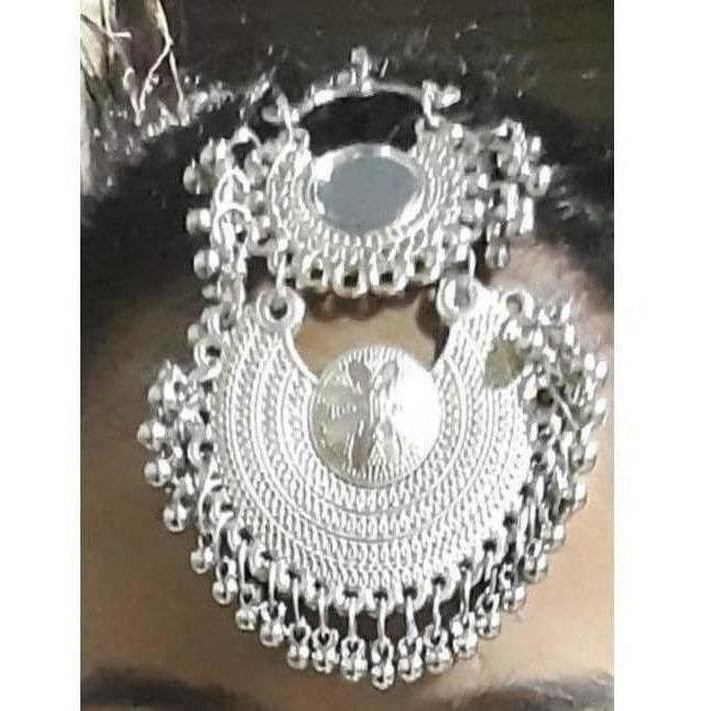 Oxidized Silver Two Steps Maang Tikka With Drops