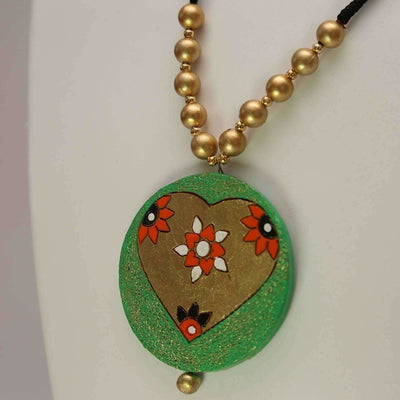Terracotta Jewelry Round Inner Heart with Earrings