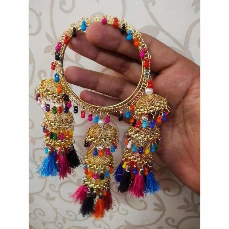 Multicolor Hanging Bangles With Pearls, Threads and Jhumkas