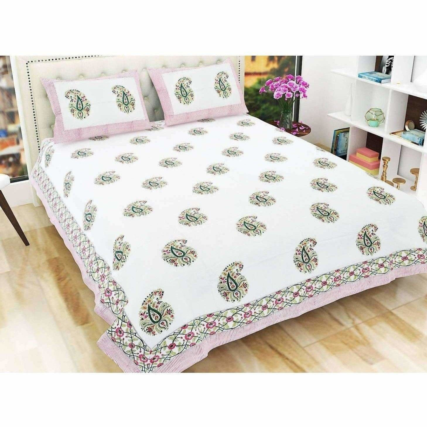 Paisley Hand Block Printed Double 90x108 Inches Bedspread with 2 Pillow Covers