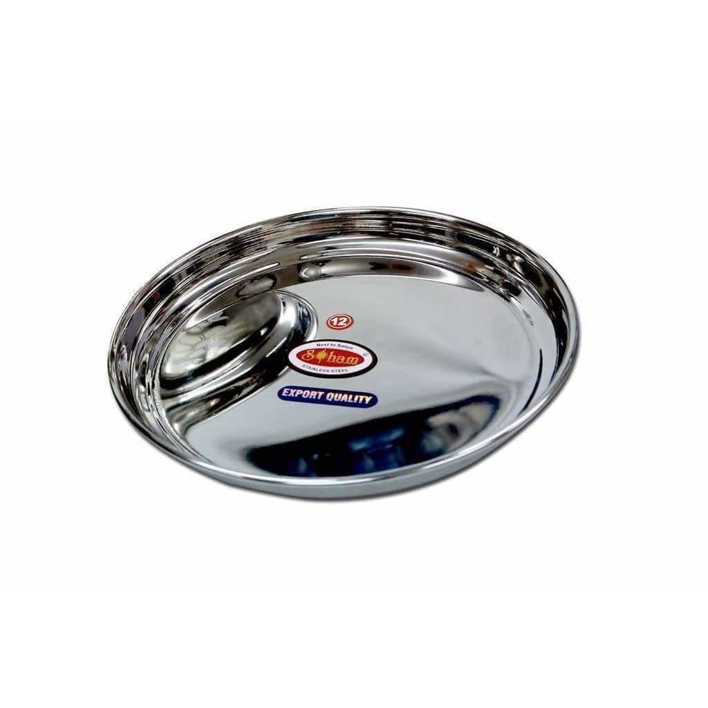 Soham Stainless Steel Round Lunch Plate/Dinner Plate, Tiffin Plate,Food Plate -Plain Design-3 PC