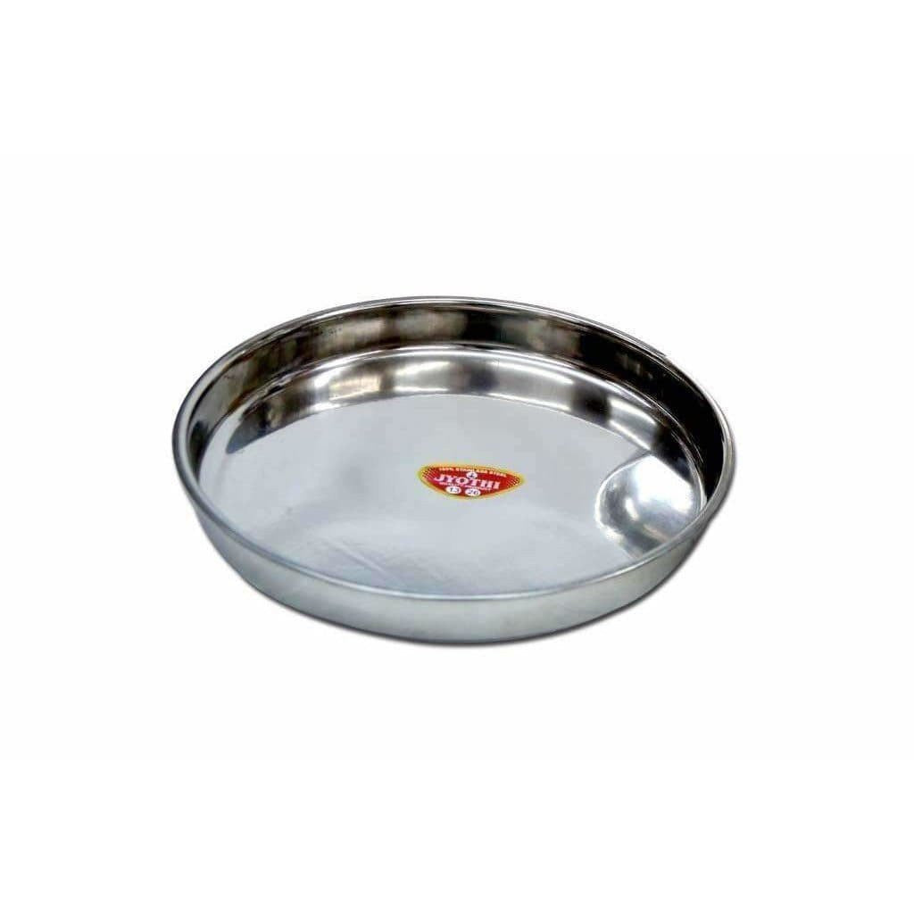 Soham Stainless Steel Round Thali Lunch Plate/Dinner Plate, Tiffin Plate,Food Plate-Plain Design-3 PC