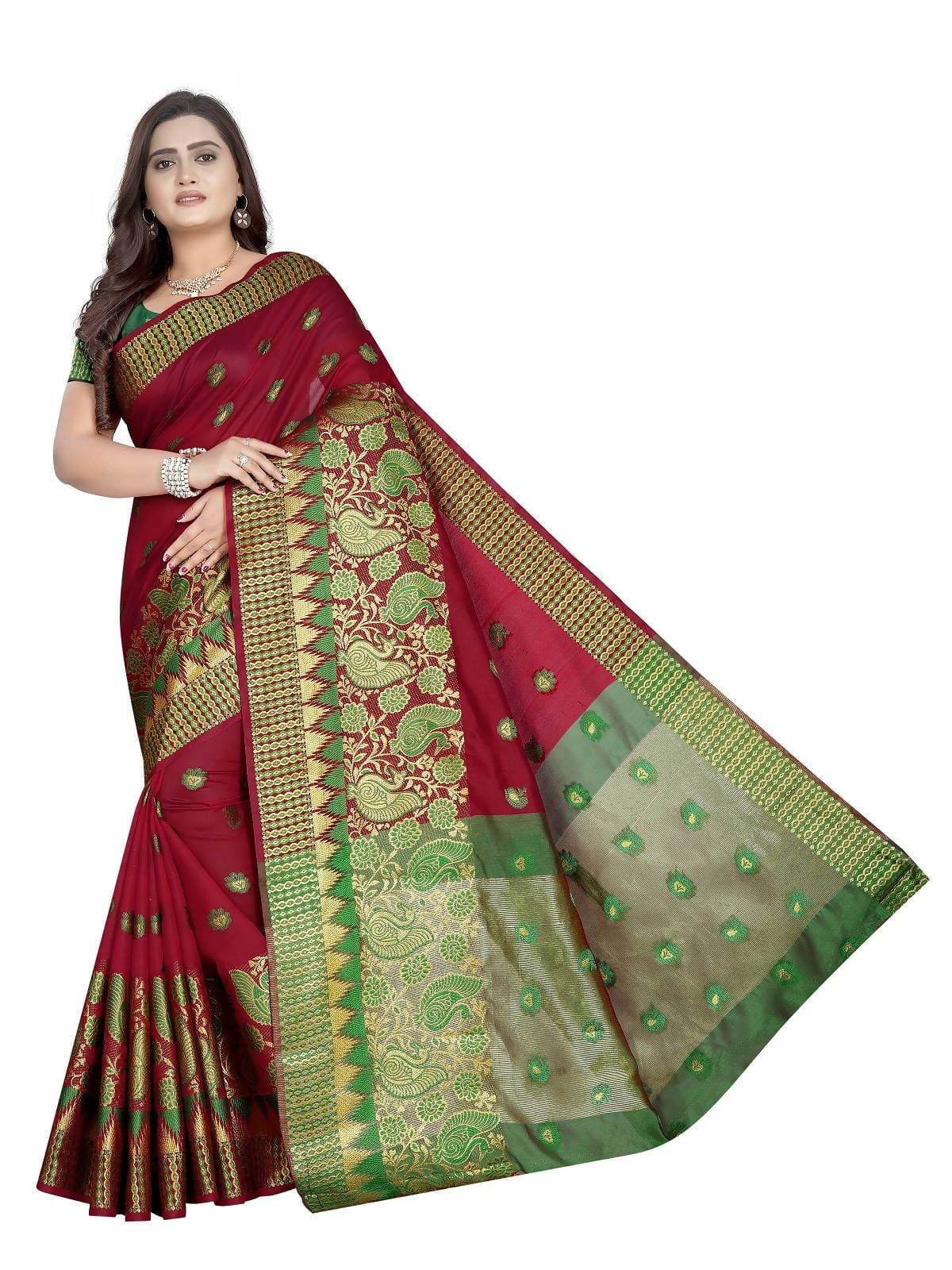 Vamika Banarasi Jaquard Red Weaving Saree With Green Blouse