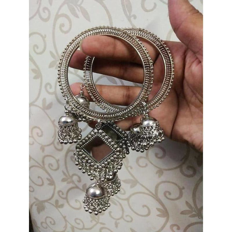 Latkan Bangles With Stylish Mirror And Jhumkas