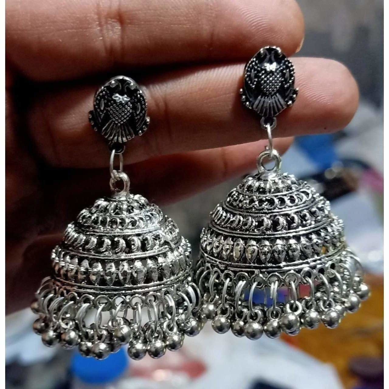 Oxidized Light Weight Silver Jhumka Earrings