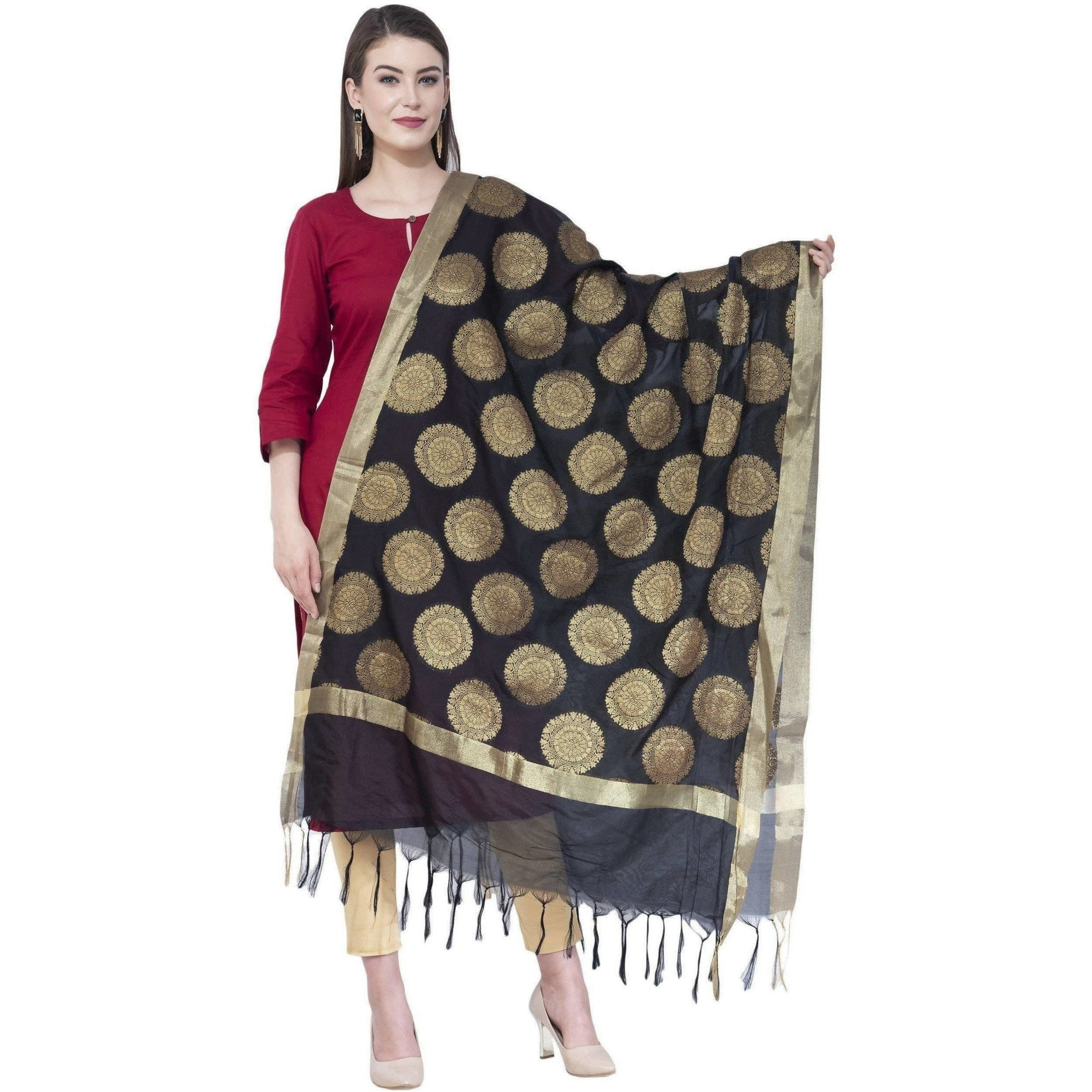 A R Silk Women's Zari Embroidery Vanarsi Silk Black Dupattas and Chunnis