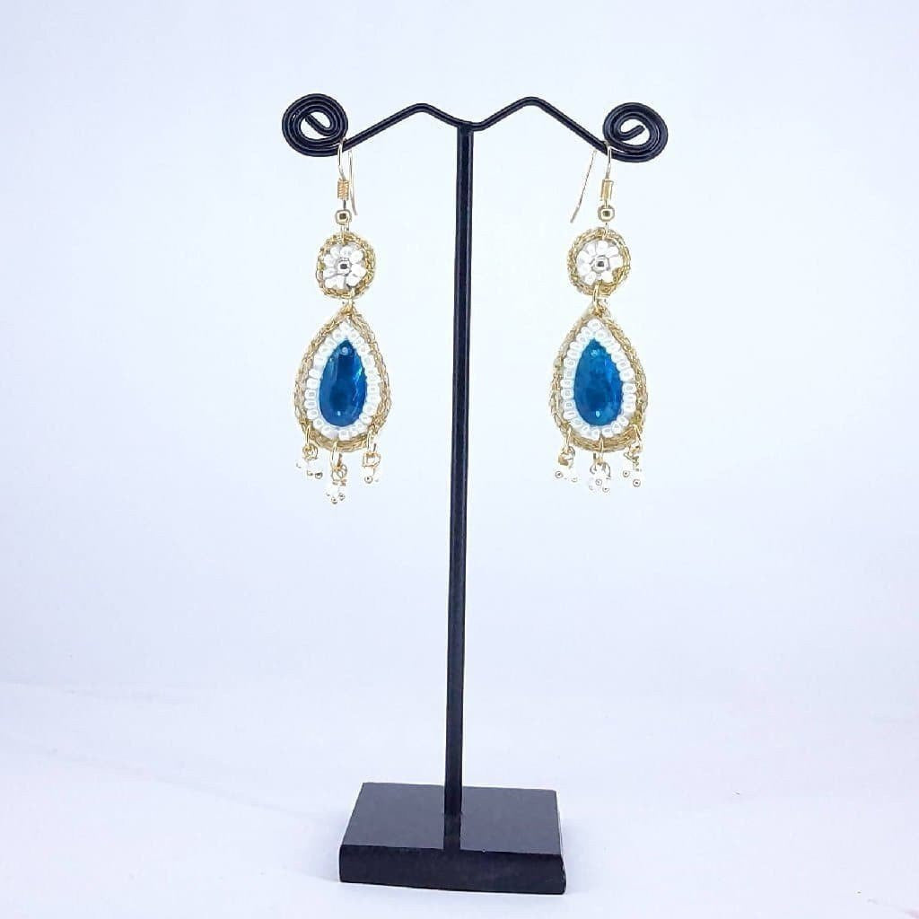 Hand weaved Dangling Artificial Crystal Earrings