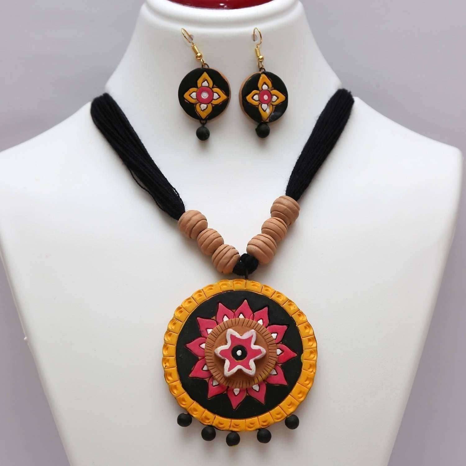 Terracotta Jewelry Multi color Black Chandra Collection