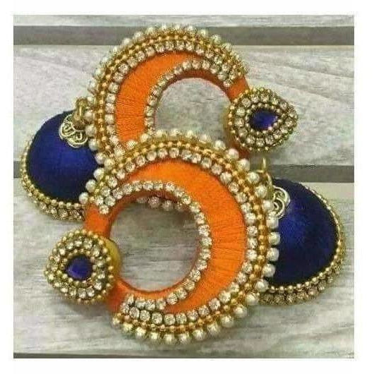 Orange and Blue Color with White Stones Earrings