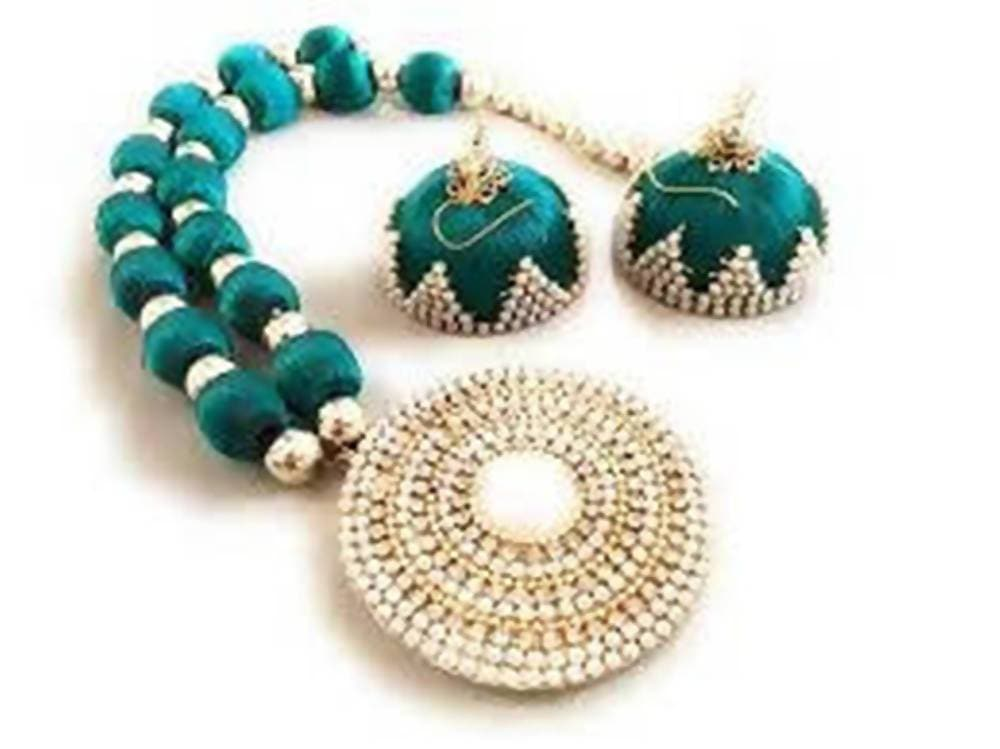 Light Green Silk Threaded Necklace Set And Earrings