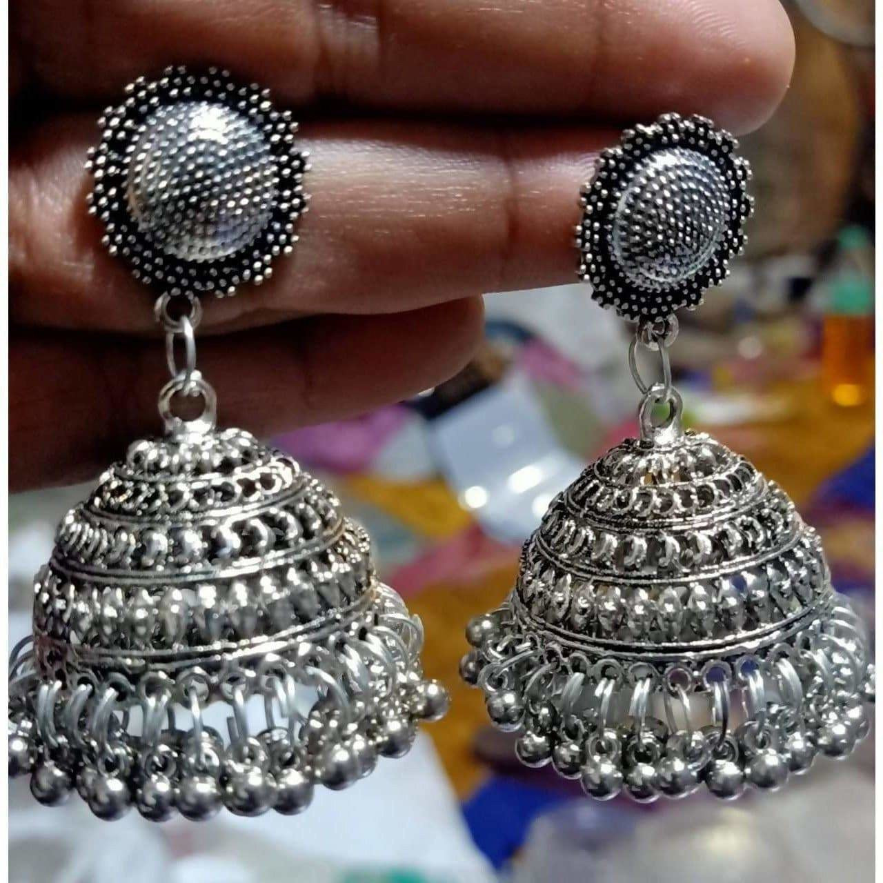 Oxidized Designer Crafted Traditional Jhumka Brass Jhumki Earrings