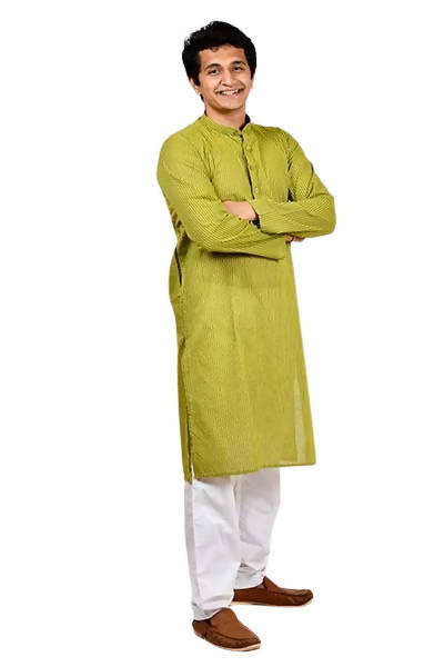 Byogi Dobby Butties Regular Mahendi Color Kurta - Distacart