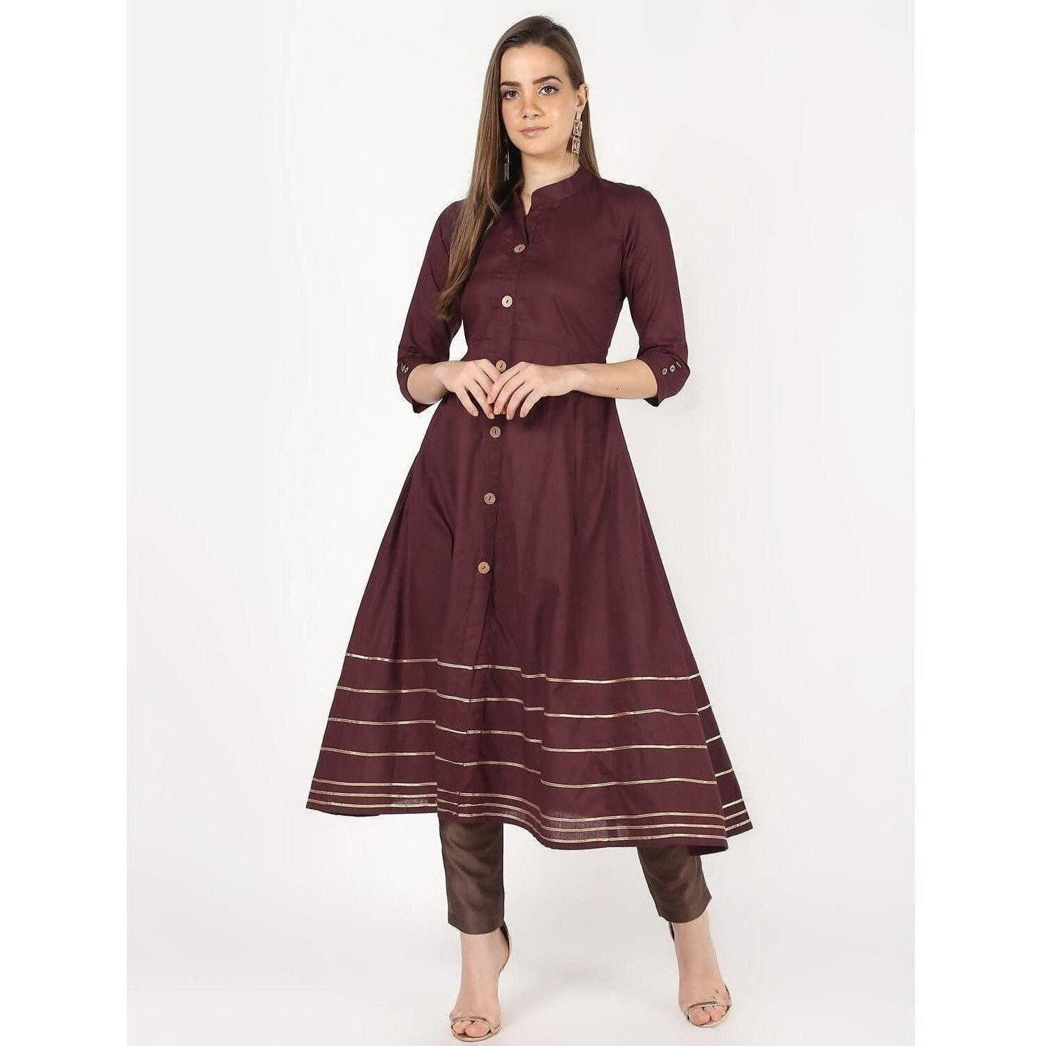 Cheera A-Line Front Buttaning With Gotta Work Kurti