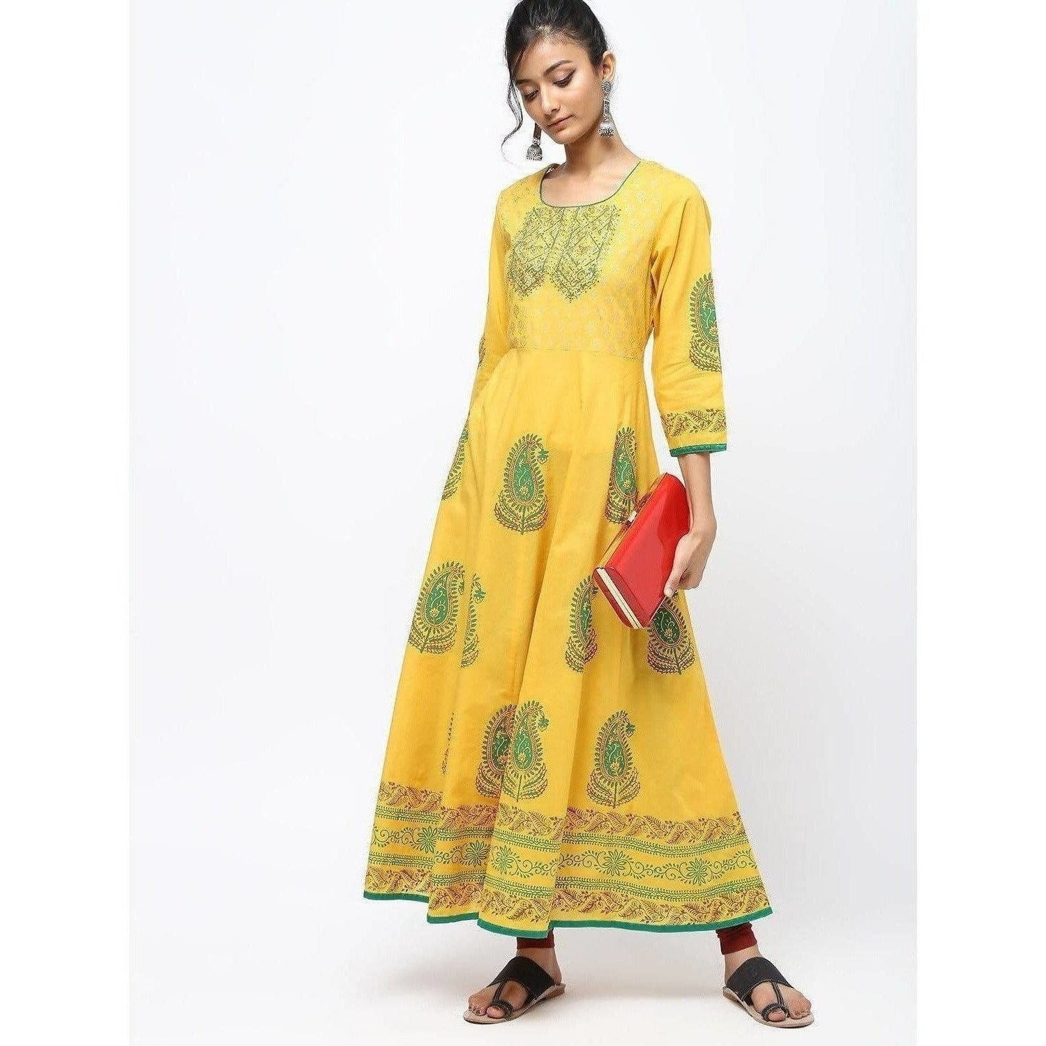 Cheera Kalidar Anarkali With Colorfull Print Kurts