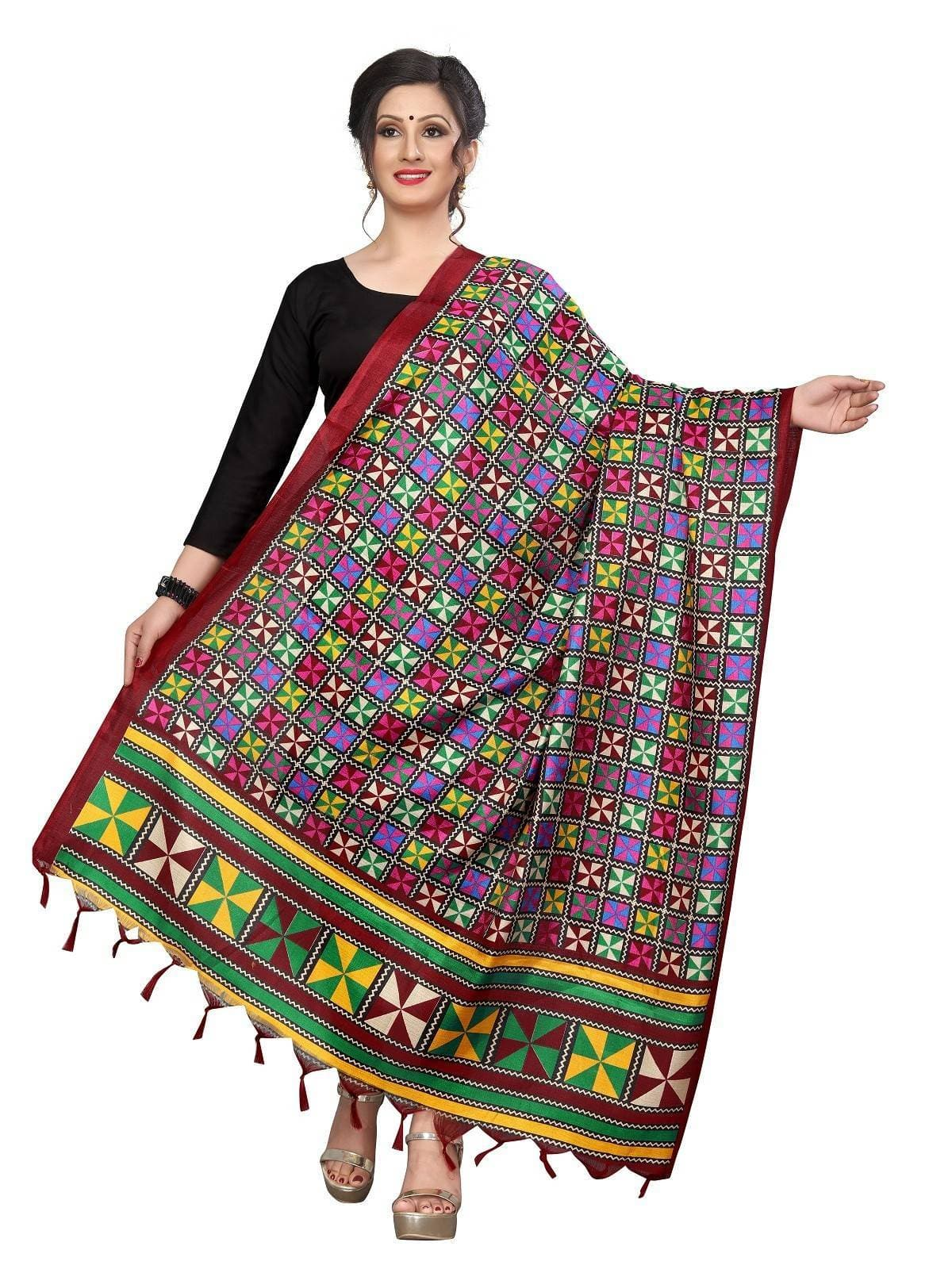 Vamika Red Printed Khadi Bhagalpuri Beautiful Dupatta