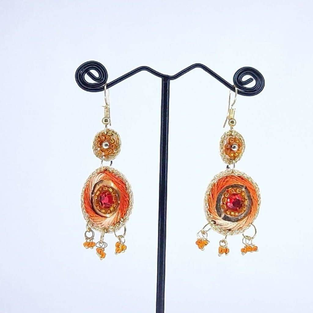 Hand weaved Dangling Zari Thread work Earrings