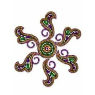 Rangoli Design Green, Purple color For Floor Decoration / Wall Decoration / Pooja Decoration - Distacart