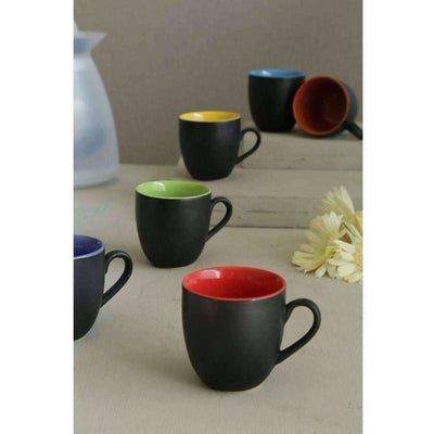 Black Mat Multicolour Tea/Coffee Cups, 180 Ml, Set of 6 Pieces